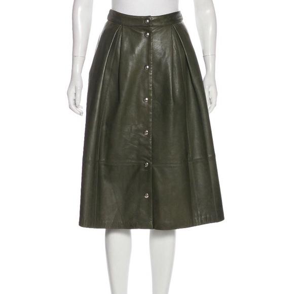 Elizabeth and James Dresses & Skirts - Elizabeth & James olive leather midi skirt